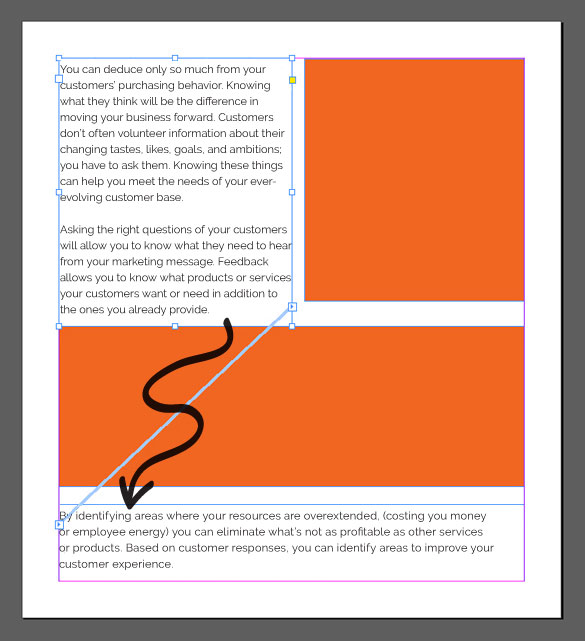 orange text image with arrow